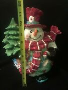 Home Interiors Christmas Cookie Jar Patches The Snowman Ceramic Holiday Lrg 12