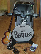 Beatles Rock Band Bundle Xbox 360 W/ Drum Set, Hofner Guitar, And Microphone And Acc