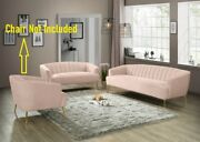 Pink Velvet Sofa And Love Seat Channel Tufting Contemporary Living Room Furniture