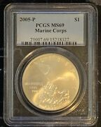 2005 P Marine Corps Silver 1 Dollar Pcgs Ms69 Uncirculated Coin