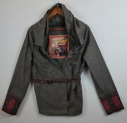 Isabel De Pedro Gray Ruched Collar Belted Jacket Embroidered Spanish Artsy Us 10