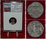 Ancient Coin Phoenicia Sidon Mazaios Galley King And Lion Silver 1/16 Shekel