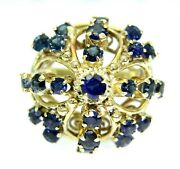 Large Vintage Sapphire Coronet Cluster 14k 14ct Yellow Gold Ring L 5 3/4