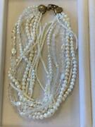 Stephen Dweck Vintage Crystal And Pearl Necklace Authentic Rare Size 46cm W/o Box