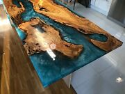 Blue Resin River Dining Confrence Center Table Top Natural Acaica Wood Decor