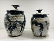Pair Of Vintage Handthrown Pottery Speckled White And Blue Lidded Canisters/crocks