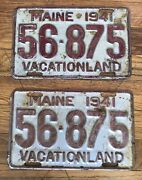 1941 Pair Maine License Plates Chevy Ford Dodge
