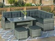 6-piece Outdoor Patio Furniture Set Wicker Sectional Sofa With Glass Gray