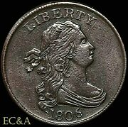 1806 Half Cent Small-6, No Stems Scarce This Nice Almost Uncirculated Hct012