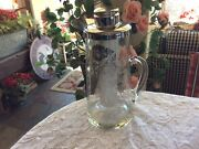 Vintage Glass Silver Overlay Floral Water Pitcher With Ice Caddy Icer