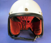 Vintage White Astra Motorcycle Helmet Open Face Cork Lined England