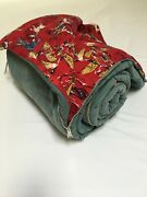 Vtg 70and039s Montgomery Ward Flannel Sleeping Bag Duck Pattern Retro Camping