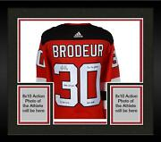 Framed Martin Brodeur Devils Signed Red Adidas Authentic Jersey And Inscs - Le 30