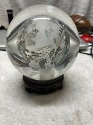 Vintage Crystal Ball Reverse Hand Painted Chinese On Stand Premier Example 4andrdquo