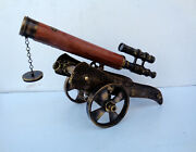 Solid Brass Heavy Weight Royal Antique Designer Canon Type Telescope Table Top
