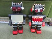 """2 X Vintage Robots Saturn And Rare Piston Robot, Giant Walking Space Toy 13"""""""