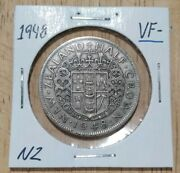 1948 Vf- New Zealand Half Crown - 2 Shillings Nz Pre Decimal Coin 2s In 2x2