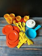 Vintage Fisher Price Fun With Food Play Kitchen Dishes Orange Plates Blue Pot