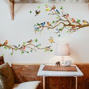 Wall Stickers Birds Tree Branches Colorful Removable Cartoon Kids Room Decals
