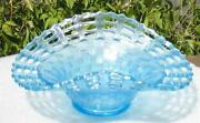 Fenton Ice Blue Carnival Glass Three Row Open Edge With Basketweave Bowl