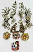 Vintage Rhinestone Costume Jewelry Clip On Earrings Collection Lot 7 Pairs Glass