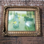 Early Wooden Floral Gold Gilt Picture Frame W/ Convex Bubble Glass Fits 12 X 9