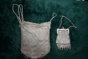 Vintage 800 Silver Mesh Chainmail Draw Bag And Coin Purse With Danglies And Filigree