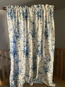 Elsa Blue And White Floral Curtains Cotton Sateen Lined