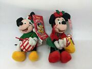 Disney Vintage Mickey And Minnie Candy Cane Christmas 2000 Toy Plush Nwt