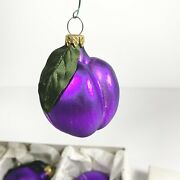 Vintage German Blown Glass Plum Christmas Ornaments Set Of 6 In Box 2-1/4andrdquo
