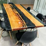 Acacia Wood Epoxy Dining Custom Resin River Resin Din Table Epoxy Din Table Top
