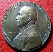 Wwii French State Marshal Pandeacutetain 1941 Paris Medal By Pierre Turin