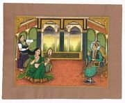 Queen Jodha Bai Brushing Her Hair Help With Maid And King Akbar Seated On Couch