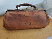 Antique Doctors Gladstone Brown Leather Bag With Initials M.s. Master Surgeon