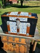 Blackdog Antique Steamer Stagecoach Trunk Blue Dome Top C1800and039s