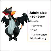 Black Dinosaur Fire Dragon With Wing Cosplay Blow Up T-rex Role Play Mascot