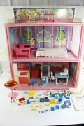1984 Barbie Glamour Home With Many Other Playset Accessories And Pieces