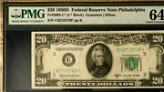 1950d 20 Federal Reserve Star Note Philadelphia Pmg 64 Choice Unc    3774
