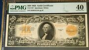1922 20 Gold Certificate Pmg40 Extremely Fine Speelman/white Beautiful 3760