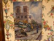 Original Vintage French Oil Painting Signed And Dated 1949 Norte Dame Cathedral