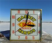 Massey Harris Farm Equipment Lighted Bubble Glass Clock Tractor Advertising Sign
