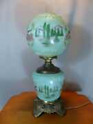 Vintage Embossed Covered Wagon Gwtw Lamp Rare Western Cactus Landscape Fenton