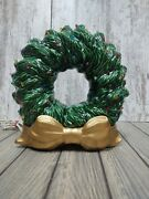Vintage Ceramic Light Up Christmas Wreath Multi Colored Bulbs Gold Bow