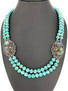 Meherand039s Jewelry Copper Turquoise Labradorite Multi Gem Bead Station Ss Necklace