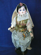 Antique 16 French Bisque Doll Original India Veiled Costume Nice