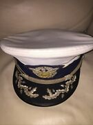 Vintage Us Coast Guard Auxiliary Senior Officer Hat Cap And Badge Scrambled Egg