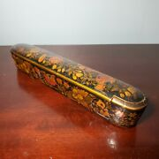 Early Persian Wooden Hand Painted And Lacquered Art Nouveau Style Pencil Box