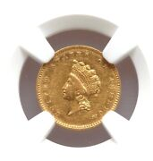 1854 Type 2 Gold Dollar Ngc Au Details Liberty Small Head Nice Type Coin Abt Unc