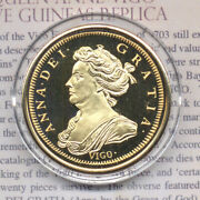 Queen Anne 1703 Vigo 5 Five Pounds Gold Plated Proof Restrike