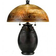 2 Light Table Lamp With Dome Art Glass Shade - Double Pull Chain